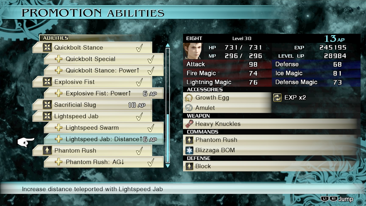 FFType 0 HD Promotion Menu List of Final Fantasy Type 0 abilities