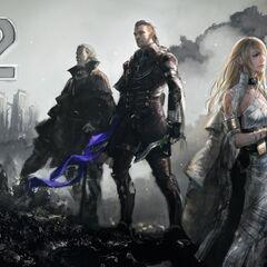 Arte de Regis, Nyx, e Lunafreya por Kenji Niki para comemorar a contagem regressiva do lançamento de <i>Final Fantasy XV</i>.