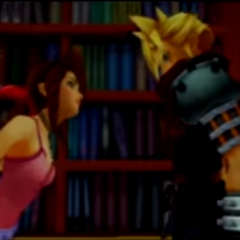 Cloud and Aerith in the credits of<i>Kingdom Hearts</i>.