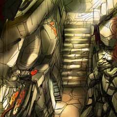 Concept art of a hallway.