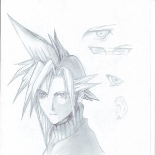 Graphit drawing of Cloud Strife By The Lonely Rose.(Based on Tetsuya Nomura's Artwork)