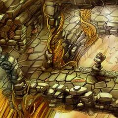 Concept art of the village entrance.