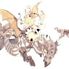 Рисунок Релм, едущей на игрушечном драконе, работы Ёситаки Амано.