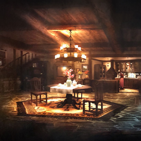 Artwork of Aerith's house.