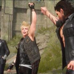 Gladiolus, Prompto, e Ignis celebrando a vitória.