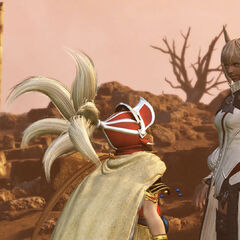 Vaan and Onion Knight introducing Y'shtola into the cycles of war.