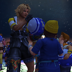 Tidus signing autograph for his fans before a blitzball game.