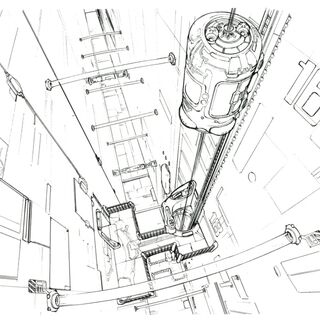 Concept art of the elevator.