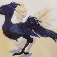 Artwork of a black chocobo.