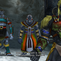 Biran and the other Ronso at the entrance to Mt. Gagazet.