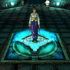 Yuna activating a teleporter.