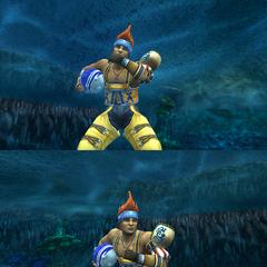 Wakka's underwater victory pose.
