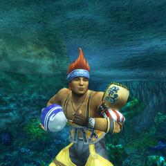 A pose de vitória de Wakka (subaquática)