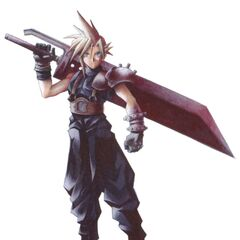 Early concept art of Cloud with alternate Buster Sword.