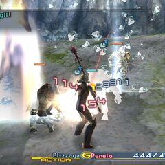 Penelo casting Blizzaga against three Baknamy in Nabreus Deadlands.