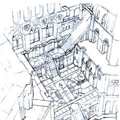 Concept art of the castle basement.