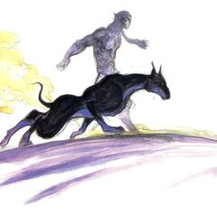 Рисунок Тени с Перехватчиком в бою работы Ёситаки Амано.