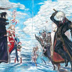 Lasswell (à esquerda) na arte da Segunda Temporada por Yoshitaka Amano.