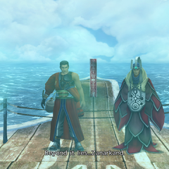Auron and Braska on <i>S.S. Liki</i>, recorded by Jecht.
