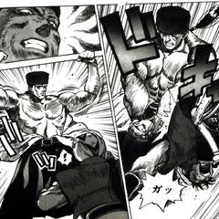 Desch's muscular physique in ''<i>Yūkyū no Kaze Densetsu: Final Fantasy III Yori</i>.