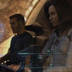 Aki and Gray in a shuttle.