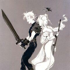 Ар с изображением Клауда и Аэрис работы Ёситаки Амано.