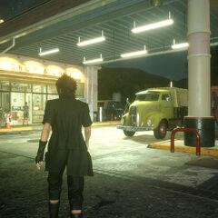 O posto de gasolina.