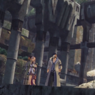 Sazh, Lightning, and Snow in the ruins of Paddra.