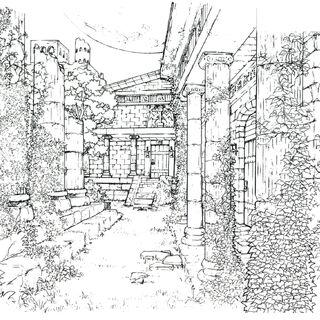 Concept art of the backyard.