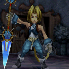 Zidane's victory pose with a dual sword.