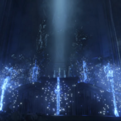 Королевское оружие перед троном Люциса в <i>Final Fantasy XV</i>.