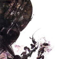 Иллюстрация Ёситаки Амано с Тенью, сражающимся с Магна Тракторами.