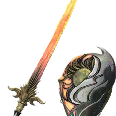 The Warrior's Flame Sword and Flame Shield.