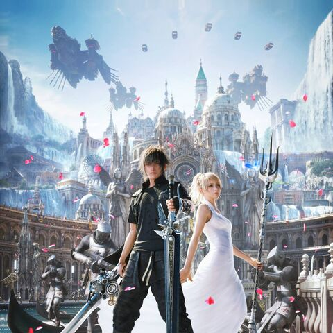 Key art of Noctis and Luna in Altissia.