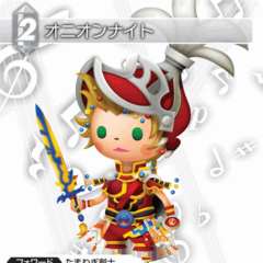 Trading card of Onion Knight with artwork from <i>Theatrhythm Final Fantasy</i>.