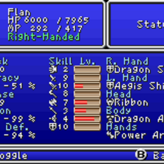 First page of the Status menu (GBA).