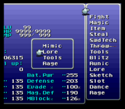 FFVI Gogo Status Screen Bug