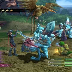 Tonberry fighting alongside Yuna and Paine.