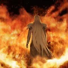 Знаковая сцена Сефирота среди языков пламени в <i>Crisis Core -Final Fantasy VII-</i>.