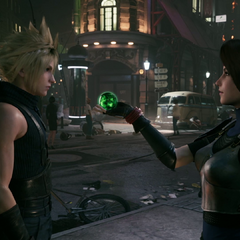 Jessie gives Cloud a materia.