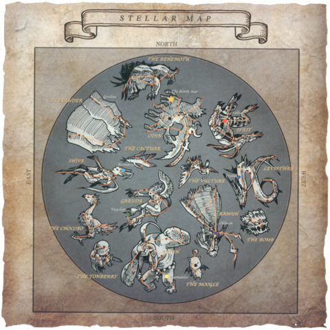 Карта звездного неба. Созвездие Бегемота в верхней части.