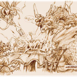Dragons and people eating dinner together.