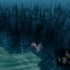 Model underwater in <i>Final Fantasy VII</i>.