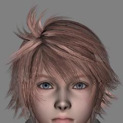O cabelo rosa de Hope do início do desenvolvimento.