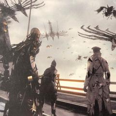 Биггс, Ведж и Аранея в охваченной паникой Гралее.