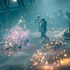 Battle against Niflheim soldiers.