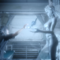 Shiva bestows Noctis the Trident of the Oracle.