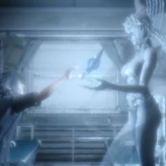 Shiva concede a Noctis o Trident do Oráculo.