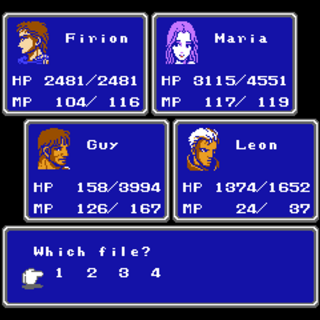 Save menu in the NES version.