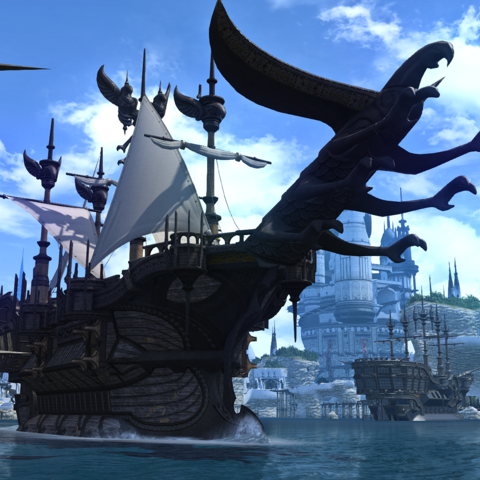 A ship sailing from Limsa Lominsa to Kugane.